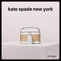kate spade new york Blended Fabrics 2WAY Plain Leather Straw Bags