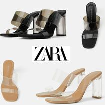 ZARA Open Toe Casual Style Plain Chunky Heels Heeled Sandals