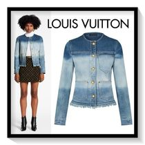 Louis Vuitton Short Casual Style Denim Street Style Plain Fringes Jackets