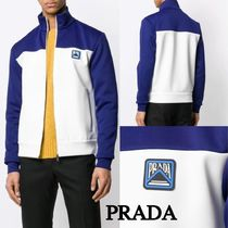 PRADA Bi-color Long Sleeves Plain Sweatshirts