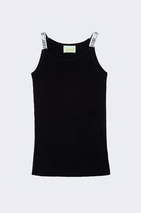 Street Style Plain Cotton Logo Tanks & Camisoles