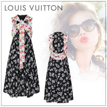 Louis Vuitton Flower Patterns Silk Sleeveless Street Style Medium