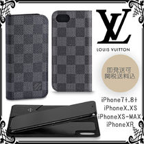 Louis Vuitton DAMIER GRAPHITE Unisex Leather Smart Phone Cases