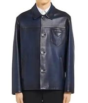 PRADA Street Style Plain Leather Biker Jackets