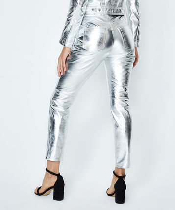 Plain Leather Long Party Style Leather & Faux Leather Pants