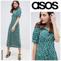 ASOS Flower Patterns Casual Style Long Sleeves Long Dresses