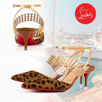 Christian Louboutin Leopard Patterns Blended Fabrics Studded Leather Pin Heels