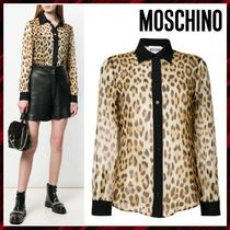 Moschino Leopard Patterns Silk Long Sleeves Shirts & Blouses
