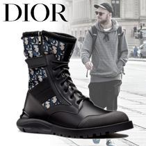 DIOR HOMME Plain Toe Blended Fabrics Leather Boots