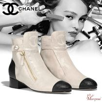 CHANEL Plain Toe Casual Style Blended Fabrics Street Style Bi-color