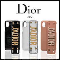 Christian Dior Unisex Plain Leather Smart Phone Cases