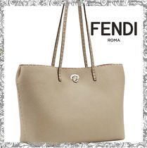 FENDI SELLERIA A4 Bi-color Leather Office Style Totes