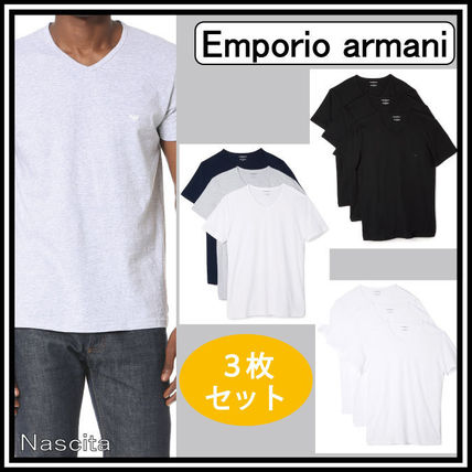 EMPORIO ARMANI V-Neck Pullovers Street Style V-Neck Plain Cotton Short Sleeves