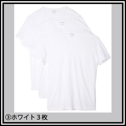 EMPORIO ARMANI V-Neck Pullovers Street Style V-Neck Plain Cotton Short Sleeves 4