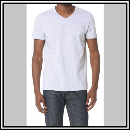EMPORIO ARMANI V-Neck Pullovers Street Style V-Neck Plain Cotton Short Sleeves 5
