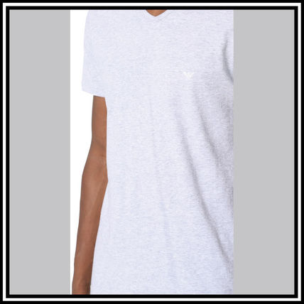 EMPORIO ARMANI V-Neck Pullovers Street Style V-Neck Plain Cotton Short Sleeves 7