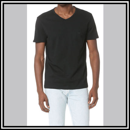 EMPORIO ARMANI V-Neck Pullovers Street Style V-Neck Plain Cotton Short Sleeves 8