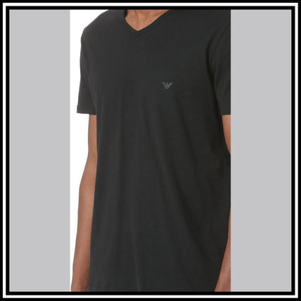 EMPORIO ARMANI V-Neck Pullovers Street Style V-Neck Plain Cotton Short Sleeves 10
