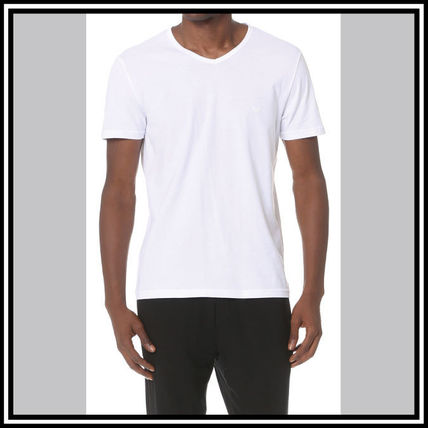EMPORIO ARMANI V-Neck Pullovers Street Style V-Neck Plain Cotton Short Sleeves 11