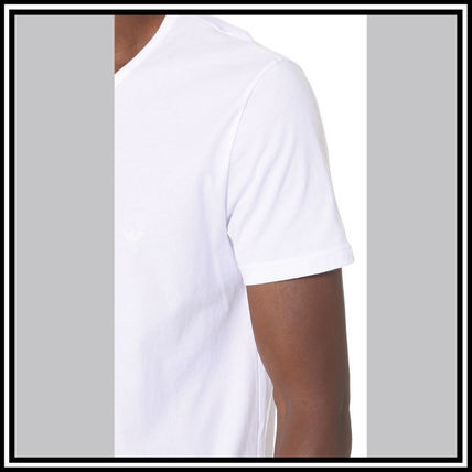 EMPORIO ARMANI V-Neck Pullovers Street Style V-Neck Plain Cotton Short Sleeves 13