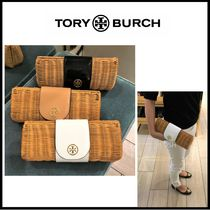 Tory Burch Blended Fabrics Plain Leather Clutches