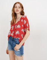 Madewell Flower Patterns Casual Style Medium Short Sleeves