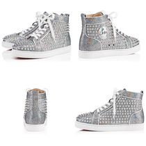 Christian Louboutin Studded Plain Leather Elegant Style Low-Top Sneakers