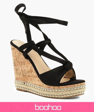 Casual Style Faux Fur Studded Platform & Wedge Sandals
