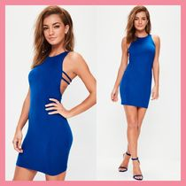 Missguided Crew Neck Short Casual Style Tight Sleeveless Plain Dresses