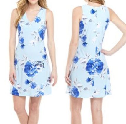 Flower Patterns A-line Sleeveless V-Neck Medium Dresses