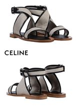 CELINE Round Toe Rubber Sole Plain Leather Sandals