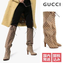 GUCCI Monogram Plain Toe Elegant Style Over-the-Knee Boots