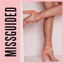 Missguided Open Toe Lace-up Casual Style Suede Plain Block Heels