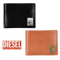 DIESEL Street Style Plain Leather Folding Wallets