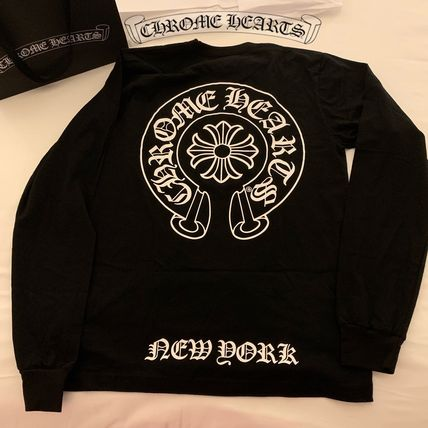CHROME HEARTS Long Sleeve Crew Neck Unisex Street Style Long Sleeves Plain Cotton