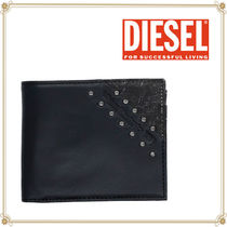 DIESEL Studded Street Style Plain Leather Folding Wallets