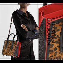 Christian Louboutin Paloma Leopard Patterns Blended Fabrics 2WAY Plain Leather