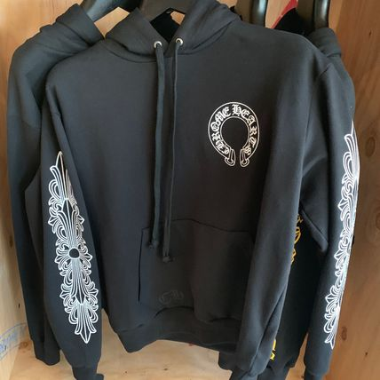 CHROME HEARTS Hoodies Pullovers Unisex Street Style Long Sleeves Plain Cotton 2