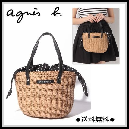Dots Street Style Purses Straw Bags