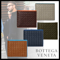 BOTTEGA VENETA Plain Leather Folding Wallets