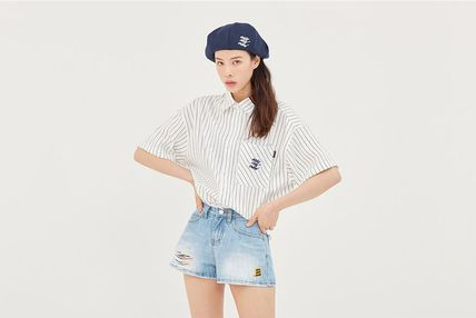 ROMANTIC CROWN Shirts Stripes Unisex Street Style Short Sleeves Oversized Shirts 12