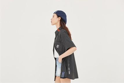 ROMANTIC CROWN Shirts Stripes Unisex Street Style Short Sleeves Oversized Shirts 4