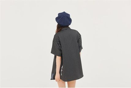 ROMANTIC CROWN Shirts Stripes Unisex Street Style Short Sleeves Oversized Shirts 6