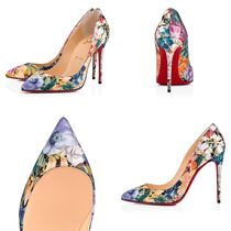 Christian Louboutin Pigalle Follies Flower Patterns Pin Heels Handmade Elegant Style