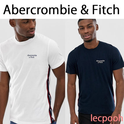 Abercrombie & Fitch Crew Neck Crew Neck Unisex Street Style Plain Cotton Short Sleeves