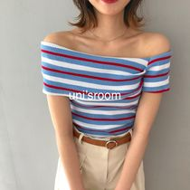 Short Stripes Rib Cotton Cropped