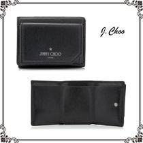 Jimmy Choo Unisex Street Style Plain Leather Folding Wallets