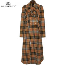 Burberry Other Check Patterns Wool Long Elegant Style Coats