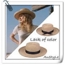 lack of color Unisex Street Style Handmade Straw Boaters Straw Hats