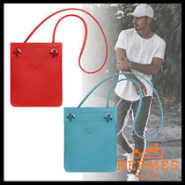 HERMES Plain Leather Messenger & Shoulder Bags